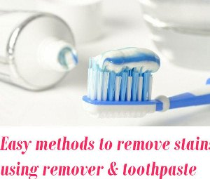 remove stains using nail polish remover and toothpaste