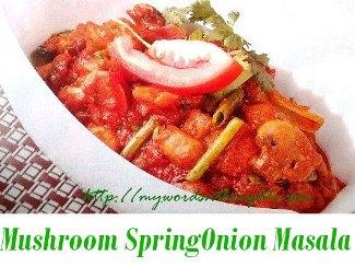 mushroom spring onion masala