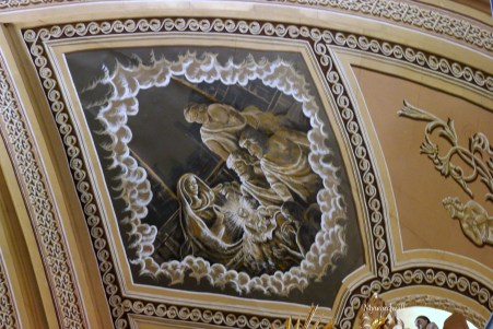 One of the many paintings on the ceiling of the Basilica of Saint Martin of Tours
