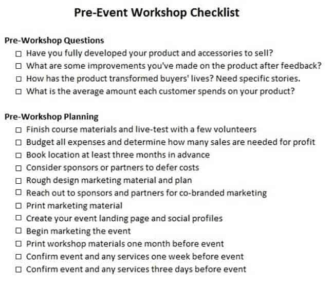 lista di controllo per la pianificazione del seminario
