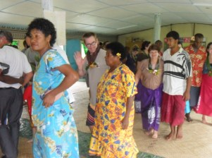 Dancing with the local ladies after lunch in a mountain village up the River from Sigatoka.