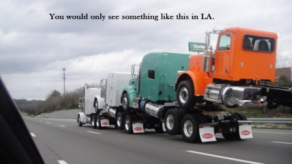 Trucks on the road in LA