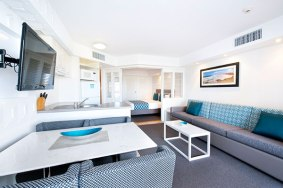 1-Bedroom apartment living area at WorldMark Resort Golden Beach