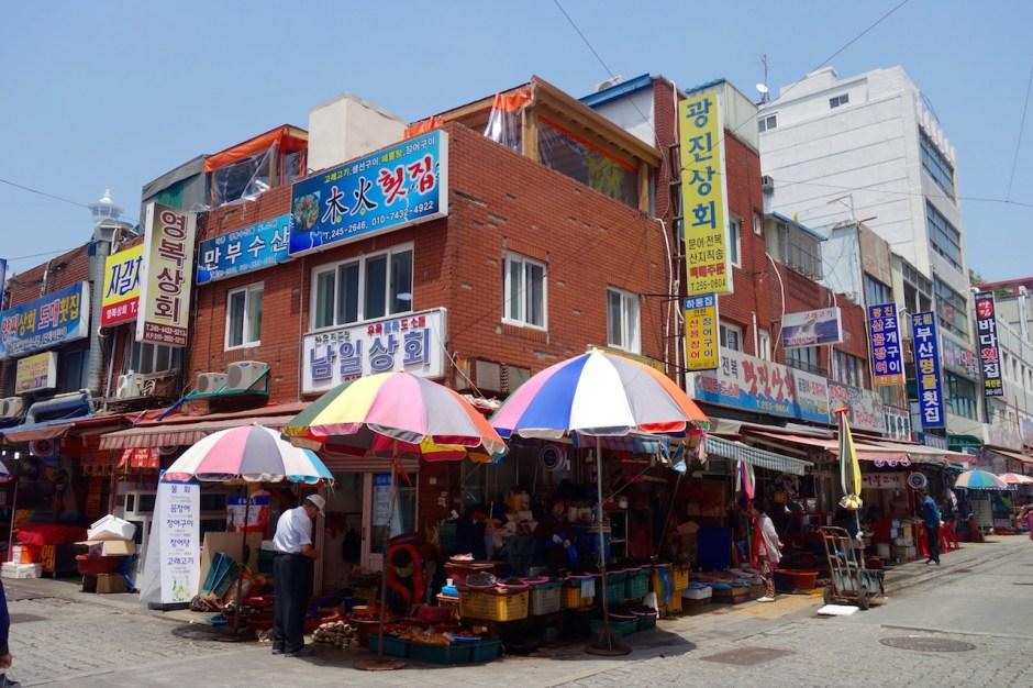 Jagalchi Fischmarkt in Busan, Korea,