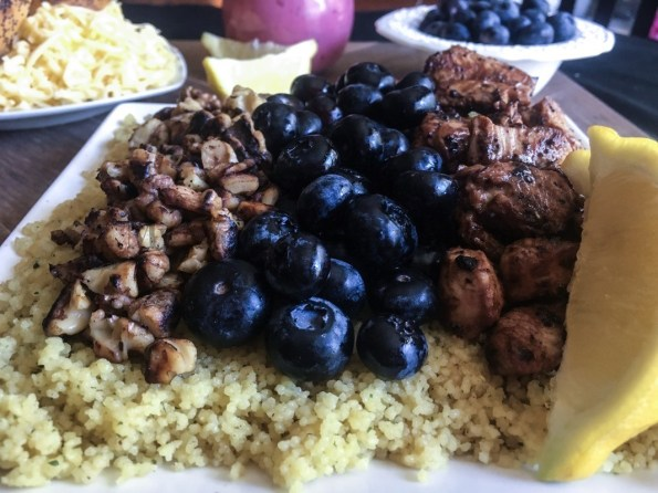 Blueberry Salad with Chicken and walnuts over a bed of couscous