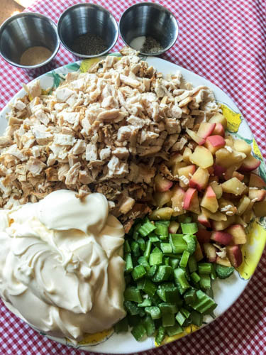 grilled apple and chicken salad_