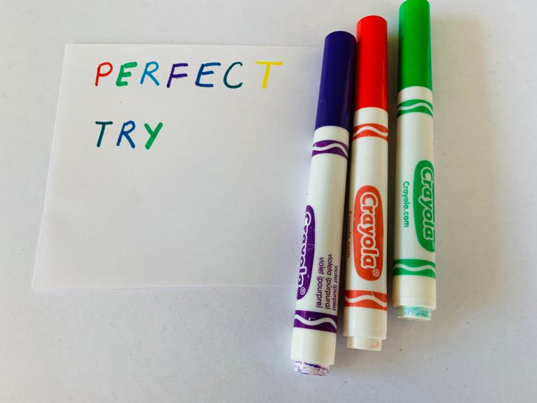 practice spelling words using different markers for each lettter