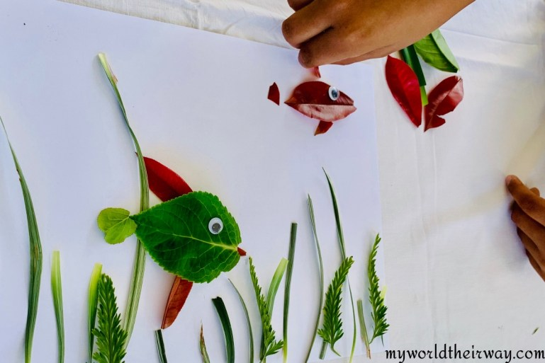 Adding detail fish leaf art