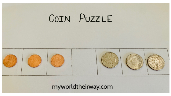 begin 6 coin puzzle