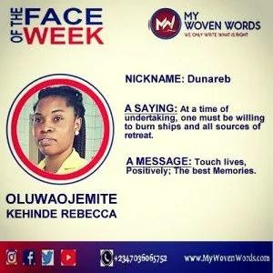 FACE OF THE WEEK - OLUWAOJEMITE KEHINDE REBECCA 8