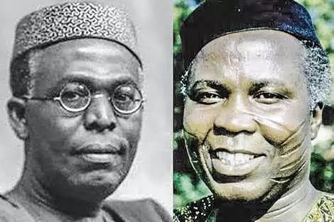 Chief obafemi Awolowo and Chief Samuel Ladoke Akintola