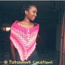 Multiplicity shawl modeled by gift recipient.