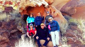 Van 2 peeps chilling in a cave