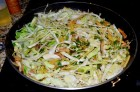 Wilt the cabbage in the skillet