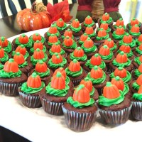 "Mini Chocolate Cupcakes with Reese's Peanut Butter Cup Centers - ""Autumn/Halloween Version"""