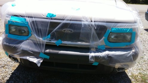 headlights after clear coat taped off