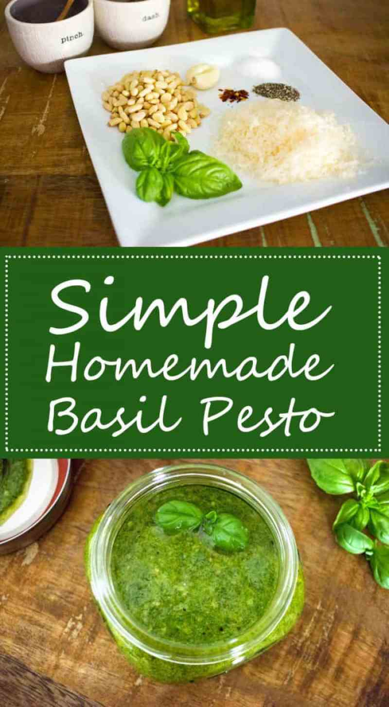 This Simple Homemade Basil Pesto is so fresh and easy to make. You probably already have all the ingredients on hand!