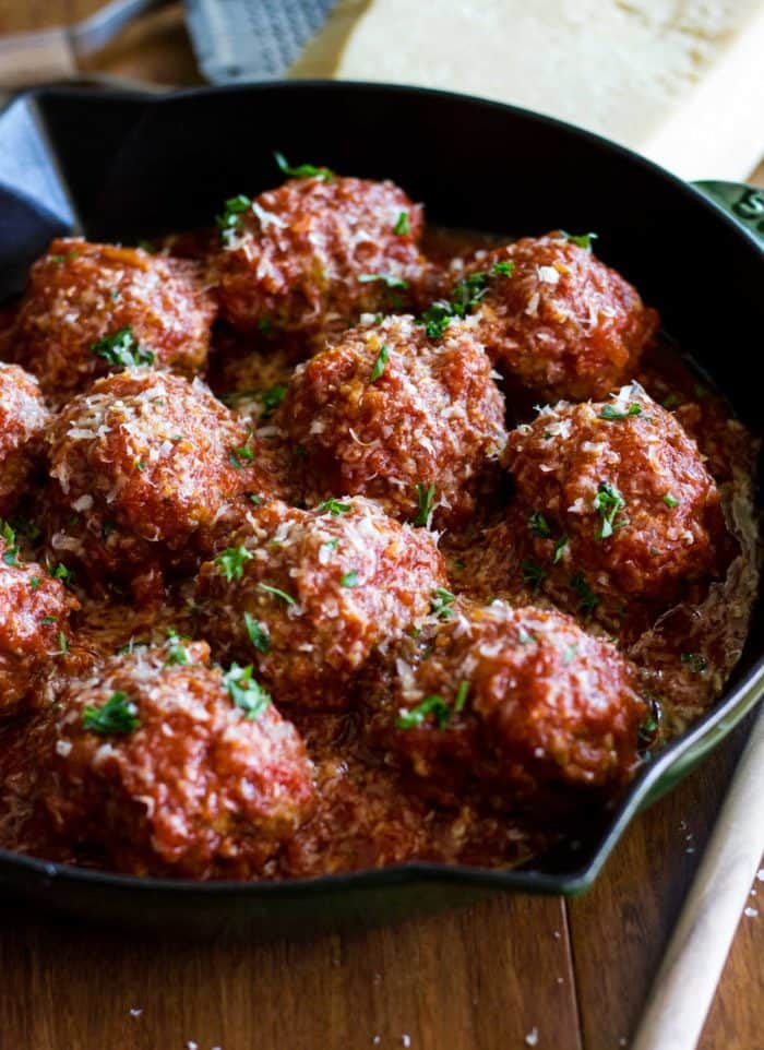 Homemade Italian Meatballs simmered in a rich a flavorful marinara sauce