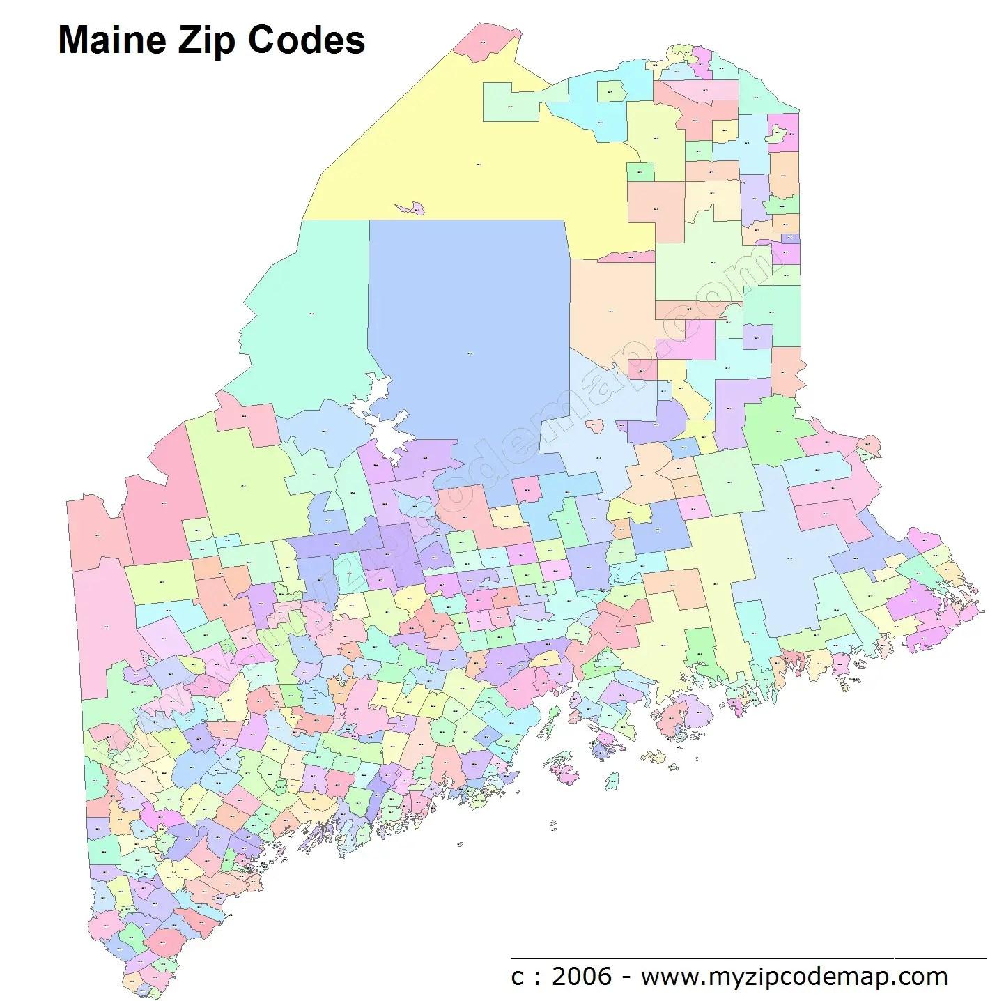 District Columbia Zip Codes Map