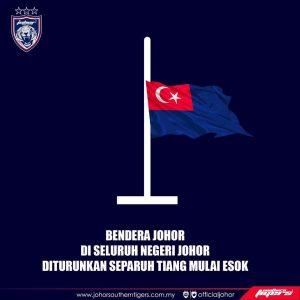 bendera johor, bendera johor separuh tiang,
