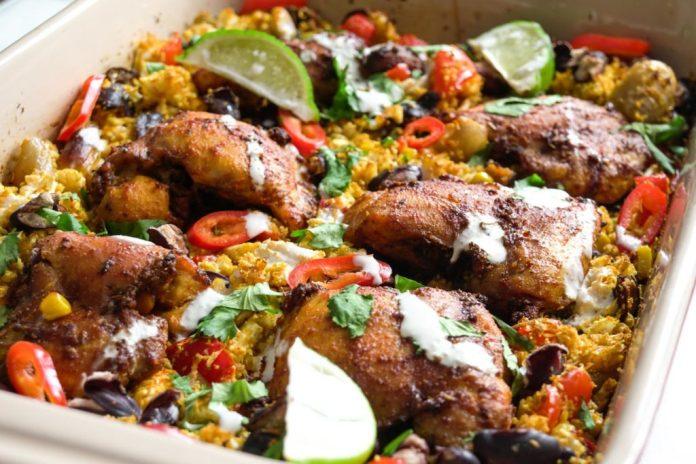 Chicken and rice traybake