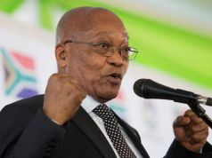 South African President Jacob Zuma speaks at a memorial lecture after unveiling a statue of struggle veteran Harry Gwala in Pietermaritzburg, South Africa