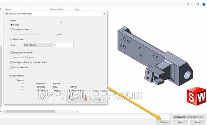 tuy chon options khi mo file solidworks trong mastercam 2019