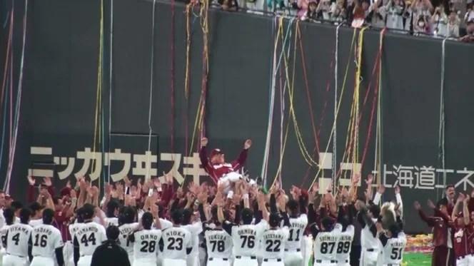 クライマックスシリーズ第4戦 優勝&野村監督胴上げ