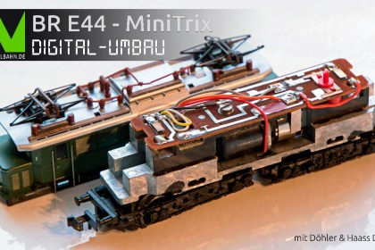DCC Digitalumbau MiniTrix E44 mit DH05C - Spur N
