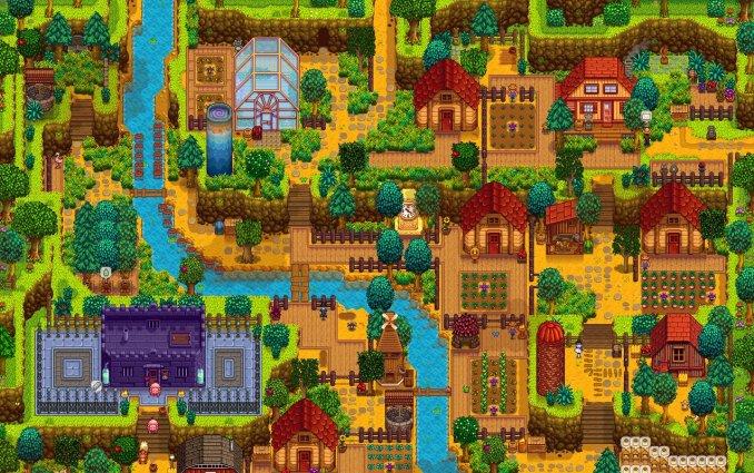 Screenshot der gesamten eigenen Farm in Stardew Valley