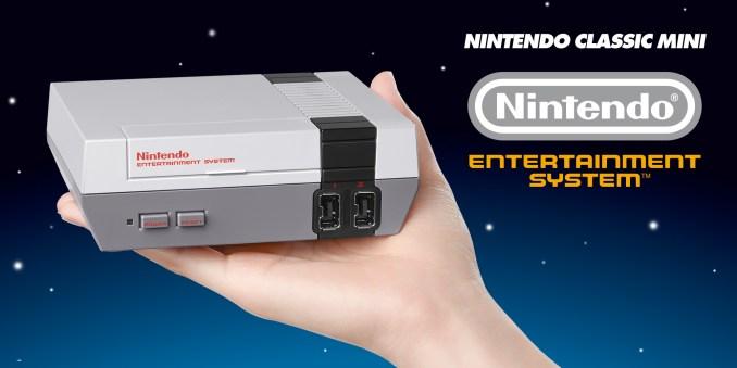 Das Foto zeigt die Minikonsole NES Mini.