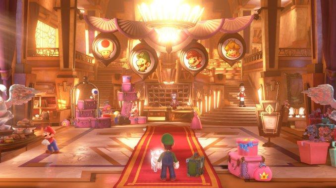 Das Foto zeigt die prunkvolle Eingangshalle des Luxushotels. Luigi und seine Freunde sind zu sehen; Luigi's Mansion 3