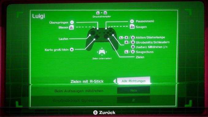 Das Foto zeigt eine Übersicht über die Tastenbelegung zu Luigi's Mansion 3.