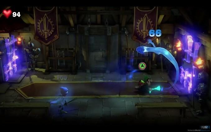 Das Foto zeigt die Schleuder-Aktion bei einem Geist; Luigi's Mansion 3