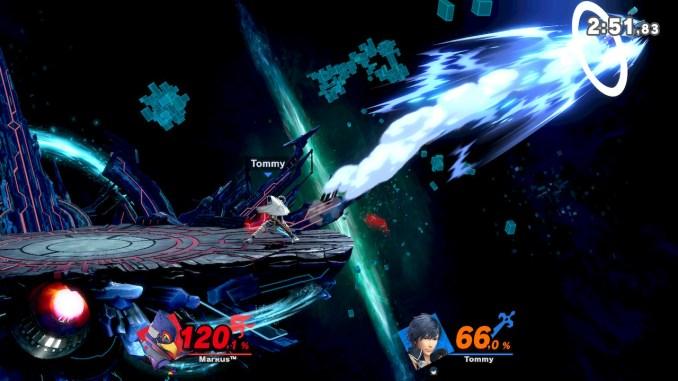 Das Foto zeigt, wie Chrom Falco in die rechte Deadzone befördert hat. Chrom nimmt eine coole Haltung ein. Falco steht lässig da.