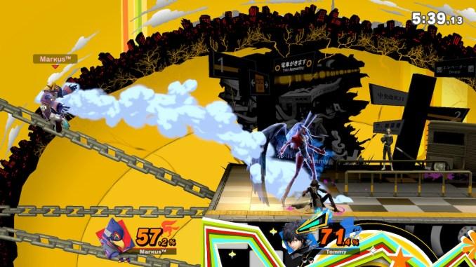 Das Foto zeigt Joker mit Arsene nach er Falco nach links von der Stage gehauen hat.