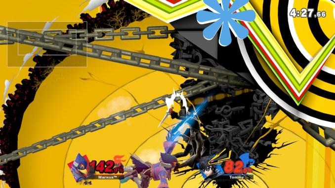 Das Foto zeigt, wie Falco vermeindlich am Hintern von Joker riecht. In Wahrheit vollführt er einfach eine Luftattacke gegen Joker Rücken auf der linken Seite der Stage.