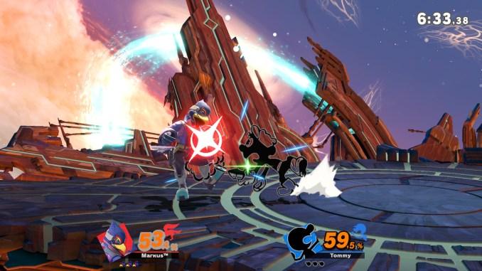 Das Foto zeigt einen Angriff von Mr. Game&Watch gegen Falco. Falco bekommt Luft an den Hintern geblasen.