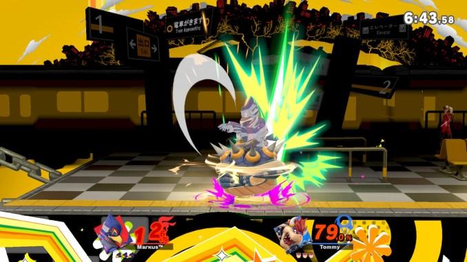Das Foto zeigt, wie Bowser seinen Stachelangriff gegen Falco einsetzt.