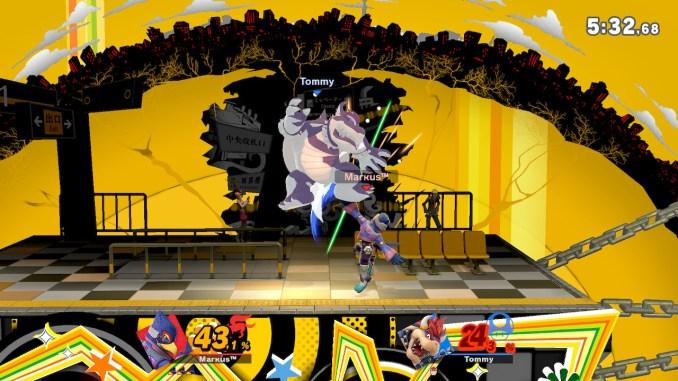 Das Foto zeigt, wie Falco Bowser elegant von unten attackiert.
