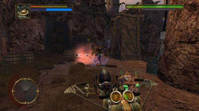 Grafikboost: Das Foto zeigt einen Spielausschnitt von Oddworld: Stranger's Wrath HD. Man sieht, wie ein Gegner mit einer Armbrust ins Visir genommen wird.