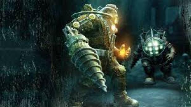 Ein Krieger stellt sich einer genmanipulierten Kreatur gegenüber. Seine Hand und sein Gesicht leuchten gelb. Sein Gegner sieht aus wie ein Taucher mit blauem Licht im Gesicht.