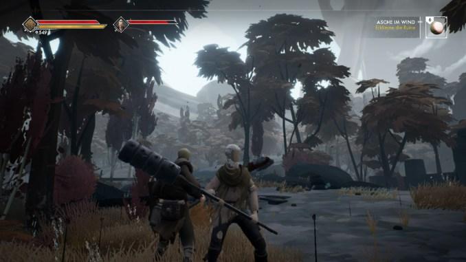 Das Foto zeigt den Spielcharakter un seinen Begleiter in der Wildnis.