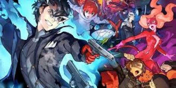 Einige Charaktere des Persona 5 Universums sind zu sehen. Im Vordergrund sieht man einen schwarzhaarigen Mann mit einer Pistole in der Hand, umgeben von blauen Flammen.