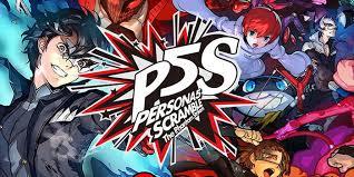 Das Logo von Persona 5 Scramble: The Rhantom Strikers ist zu sehen. Im Hintergrund sind einige Charaktere der Reihe zu erkennen.