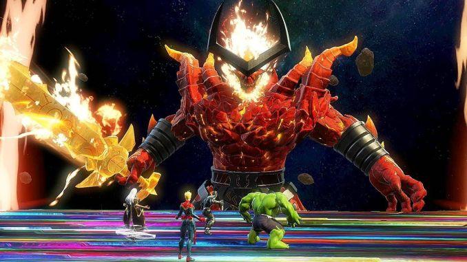 Das Bild zeigt einen Bosskampf gegen Surtur aus Marvel Ultimate Alliance 3.