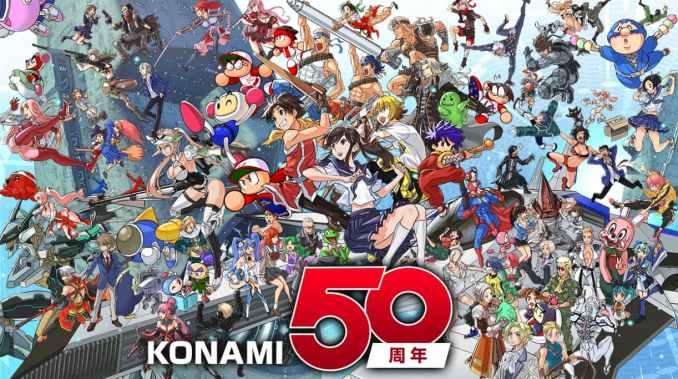 Konami Artwork zum 50. Jubiläum mit diversen Charakteren aus den unterschiedlichen IPs