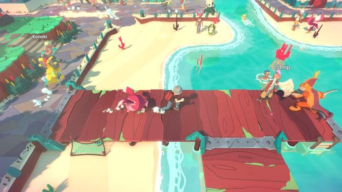 Das Bild zeigt einen Spielausschnitt aus Temtem. Der Spieler läuft auf einer Brücke zu einem anderen Online-Spieler. IGN veröffentlichte heute einen Temtem-Trailer zum Game.