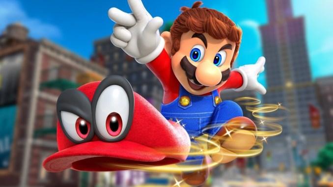 Das Foto zeigt ein Bild, auf dem Mario seine Kappe Cappy lachend nach vorne wirft. Aus dem Game Super Mario Odyssey, das Nintendo-Präsident Furukawa in China veröffentichen mag.