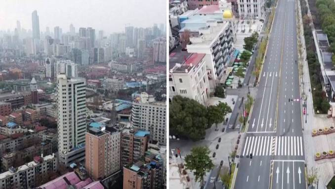 Das Bild zeigt einen Teil von Wuhan, welcher evakuiert wurde. Auslöser dafür ist das Wuhan-Coronavirus.